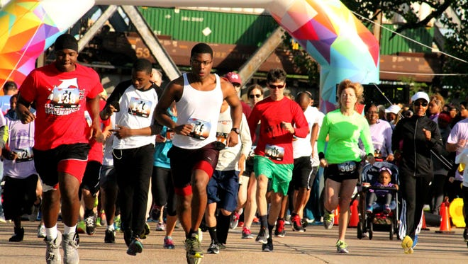 The Institute for Global Outreach's annual Walk for Humanity 5k health walk on Clyde Fant Parkway Saturday April, 11, 2015 in Shreveport, LA.