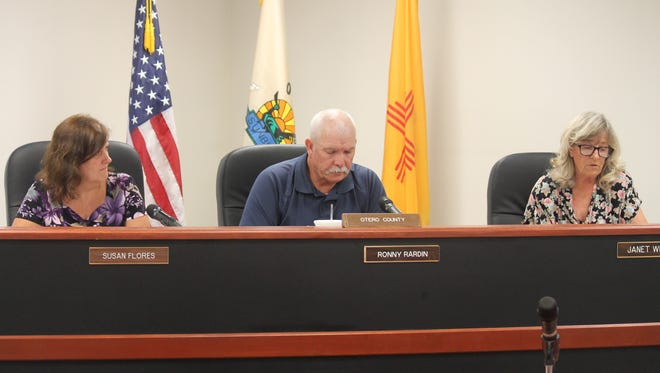 A photo of Otero County Commisioners from left to right: Susan Flores, Ronny Rardin and Janet White from July 2015.