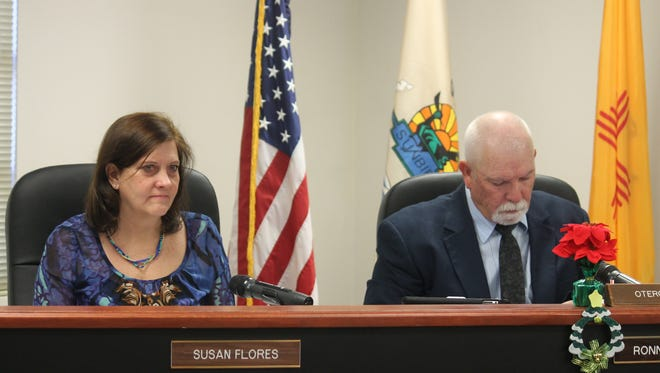 County Commissioner Susan Flores and County Commission Chairman Ronny Rardin listen to a request by JBC Holding Corporation to propose a new subdivision in Chaparral.