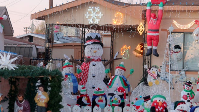 A decorated house on Mountain View Avenue. The First National Bank and Z-Trans tour of lights will stop at houses for their Christmas light display contest.
