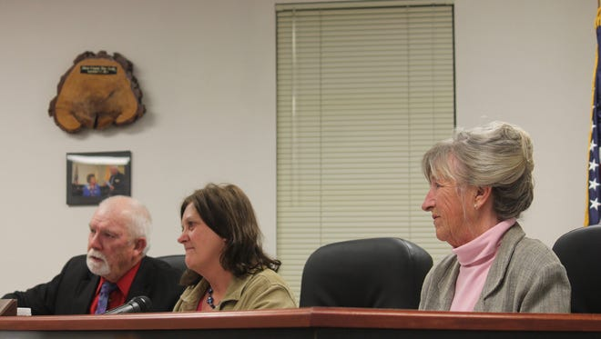 Otero County Commissioners from left to right: Ronny Rardin, Susan Flores and Janet White voted to allow county employees to carry weapons in the workplace Monday evening.