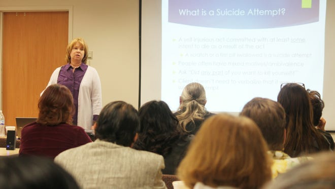 Laura Rombach, senior program therapist at the University of New Mexico, presented to Otero County agencies on Wednesday morning on helping those who have contemplated suicide.