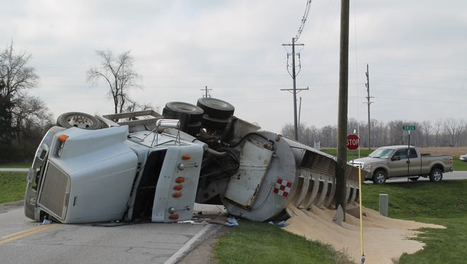 A semi tanker carrying cornmeal overturned Tuesday as it was turning off Indiana 26 in eastern Tippecanoe County.