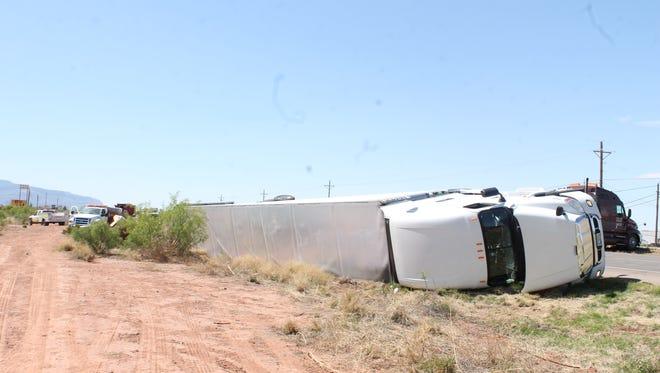 Overturned Truck off US 54