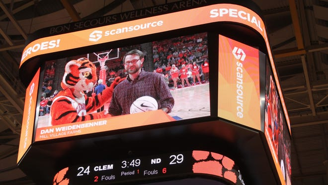 Dan Weidenbenner of Mill Village Farms, is among the nonprofit leaders honored as a Community Hero by Clemson University and Scansource. He was honored during a Clemson baskteball game at Bon Secours Wellness Arena.