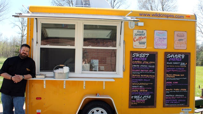 Daniel Bean mans the cooking helm of he and wife Jana's crepe food truck, Wild Crepes. Choose from a variety of sweet and savory fillings tucked inside the freshly cooked delicate rounds.