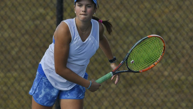 Christ Church eighth-grader Mary Philpot, shown during a match against St. Joseph's, took first at No. 4 singles and teamed with Lauren Allen to finish second at No. 2 doubles in this past weekend's Chick-fil-A of Anderson Hall of Fame Classic in Belton.