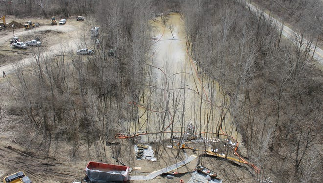 An aerial shot of the area affected by the oil spill of 2014 in Oak Glen Nature Preserve.