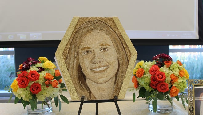 The floragraph of Courtney Dayback, an organ donor from Holmdel, that will appear on the Donate Life float at the Rose Parade.