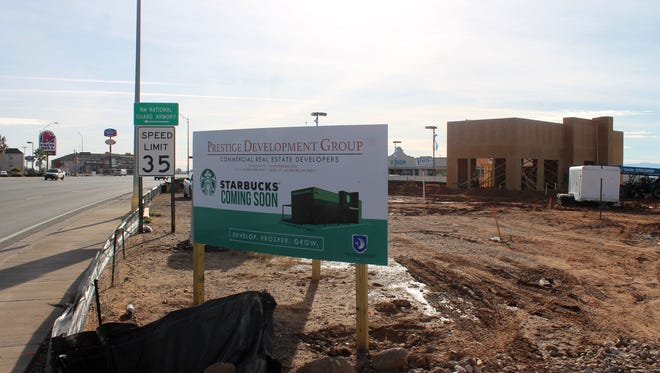 Construction on the first drive-thru Starbucks in Alamogordo has begun. The 2,000-square-foot coffee house is located at 1400 S. White Sands Blvd., between Vision Ford Lincoln Hyundai and Amigo Auto Sales, and is expected to open early 2017. This location is one of 12,000 new Starbucks expected to open nationwide by 2021. The Prestige Development Group, the group behind bringing the Starbucks to town, said in an earlier press release that Alamogordo has turned into an ideal location for realtors due to the constant traffic it experiences as the main thoroughfare between the west and south of the state and other huge New Mexico tourist destinations.