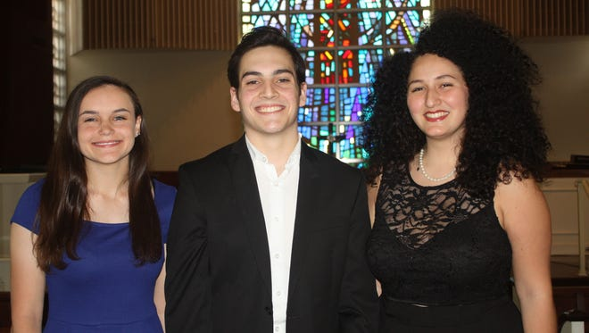 Winners of the Fourth Annual Young Artist Vocal Competition are, from left: Kristine Hewitt - The Benjamin School - second place  (Choral Teacher - Nicholas Lockey); Jacob Cornelius - William T. Dwyer High School - first place (Choral Teacher - Pamela Varnadore); and Gabriella Torres- Park Vista Community High School - third place (Choral Teacher - Bryan Ijames).