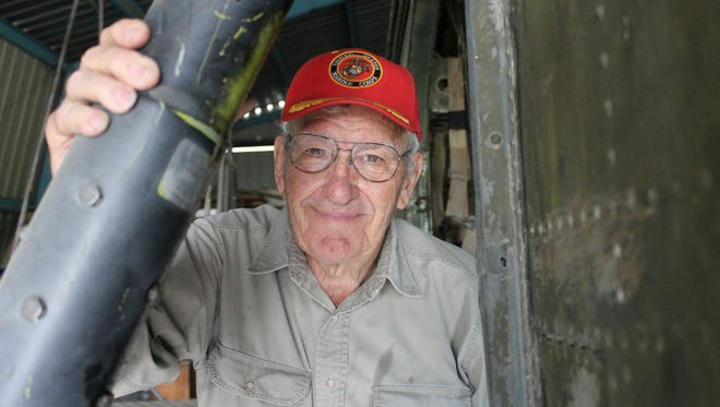 Bob Fritzler is photographed on July 10, 2017 in Greeley, Colo.  He's working to restore a U.S. Marine Corps Sikorsky H-34 helicopter, which was flown during Operation SHUFLY, a Marine helicopter operation that primarily ferried troops in Vietnam between 1962 and 1965.   (Kelly Ragan /The Greeley Tribune via AP)