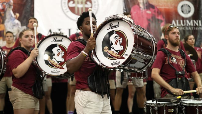 The FSU Marching Chiefs play for players and fans as they meet at the Tucker Civic Center for the 66th Annual Kickoff Luncheon on Friday, Aug. 25, 2017.