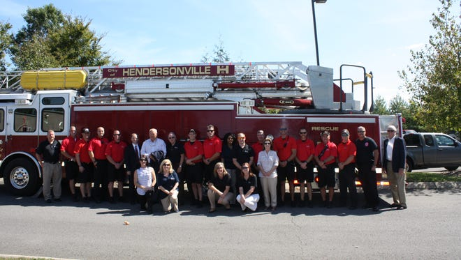 The Jason Foundation Staff, its National Spokesperson Phillip Fulmer, Hendersonville Mayor Jamie Clary and members of the Hendersonville Fire Department came out to support the Jason Foundation's 20th anniversary.