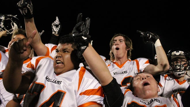 Williams celebrates after winning the 1A championship over Superior on Friday, Nov. 10, 2017 in Maricopa, Arizona.