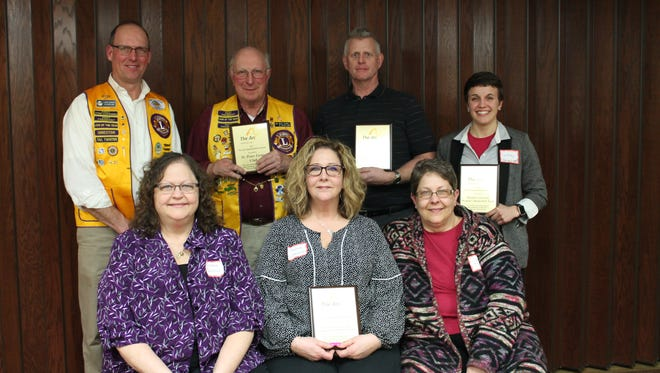 Pictured are those honored with the Service Organization Awards, front row, from left: Covenant United Methodist Church, Diane Weider, Joanne Weider-Schneider and Suzanne Weider-Burns; back row: St. Peter Lions Club, Larry Dikeman and Bud Sabel; Knights of Columbus, Jim Rieder; and Marian University Women Basketball, Lyndsey Seewald.