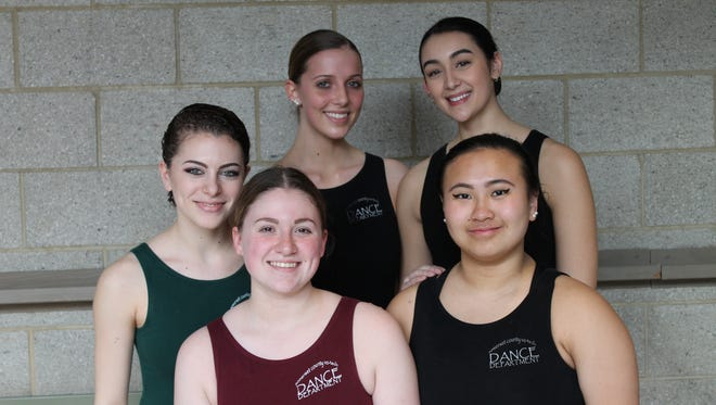 SCVTHS senior choreographers (front l-r) Jessica Paolillo of Hillsborough, Maddy Lee of Bridgewater, (back l-r) Marissa Miller of Warren, Eleanor Faherty of Basking Ridge, and Sophia Yankowski of Somerville.