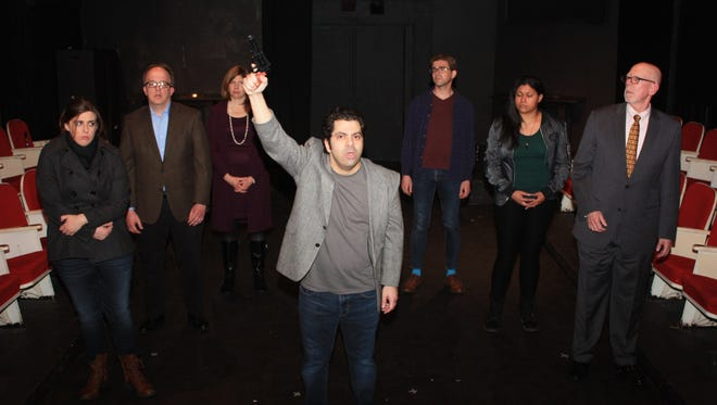 """The cast of Piscataway-based Circle Players' production of Aaron Posner's """"Stupid F*cking Bird"""" is pictured from left to right: Jessica Musolino, Milltown; Mike Johnson, Hillsborough; Linda Hatcher, Warren; Noah Stanzione, Long Valley; Thom Boyer, Hamilton; Allison Mitchell, Mays Landing, and Bob Dumpert, Franklin Park section of Franklin Township."""