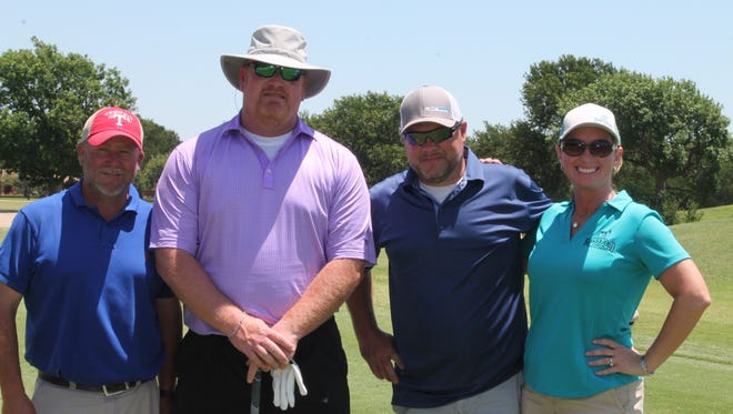 The Desk and Derrick Club held its annual golf tournament May 18, 2018. The team winning the second flight was Roseland Oil Co.: left to right, PeeWee Shiffle, Ty Fisher, Jeff Kennedy and Miranda Kennedy.
