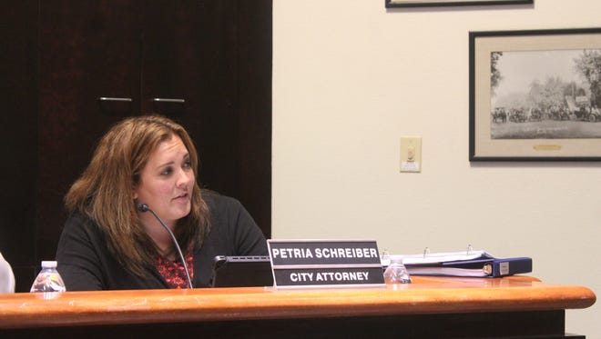 Alamogordo City Attorney Petria Schreiber speaks with Commissioners regarding an update to a traffic ordinance on July 10.