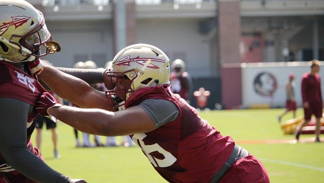 FSU DT Jamarcus Chatman during the third practice of fall camp