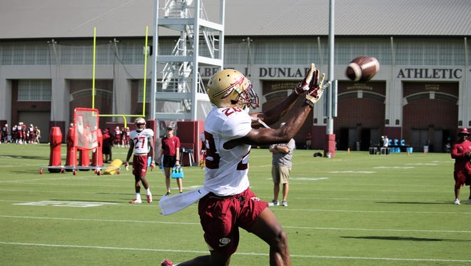 FSU WR D'Marcus Adams catches a pass in the end zone during a practice on Aug. 9, 2018.