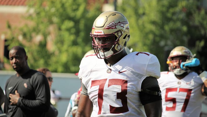 FSU offensive tackle Jauan Williams during practice on Aug. 11, 2018.