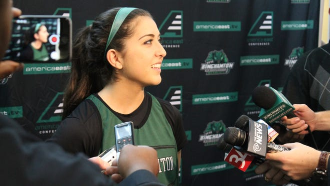 Binghamton University freshman guard Jasmine Sina talks to reporters on Media Day for the women's basketball program.
