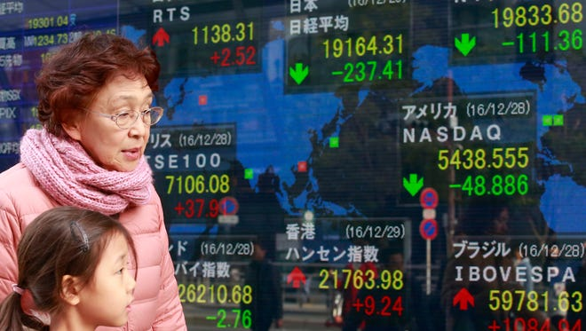 People walk past an electronic stock indicator of a securities firm in Tokyo, Thursday, Dec. 29, 2016.