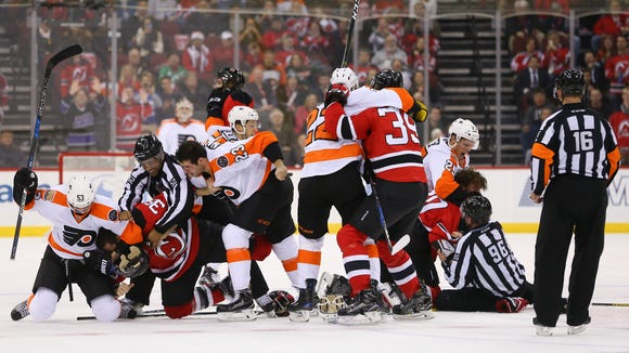 In five games last season the Flyers and Devils had four fights and four misconduct penalties.