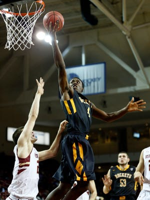 Guard/forward Justin Drummond, driving in for a basket against Boston College on Nov. 14, is among the leaders for Toledo.