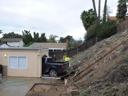 A man was killed early on Dec. 22, 2016, in Thousand Oaks when a pickup traveled down a 40-foot embankment and crashed into the back of a house in the 2600 block of Briarwood Place.