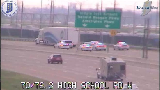 A screenshot from a traffic camera shows a police pursuit Friday, May 19, 2017.