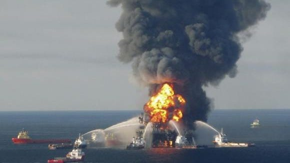 The offshore oil rig Deepwater Horizon burns in this April 21, 2010 photo.