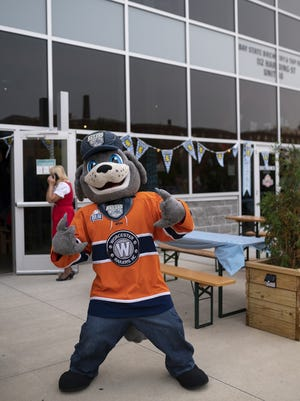 Railers mascot Trax greets the crowd at Bay State Brewing's Oktoberfest Sept. 16, 2020.
