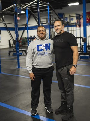 CrossFit Worcester co-owners David Rojas and Scott Boulay on Thursday. Not pictured is third owner Paul Cyr.