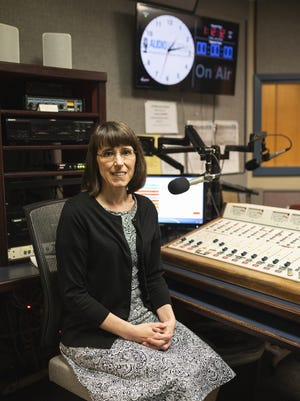 Mary Frandsen, executive director of the Audio Journal, a reading service for the blind, is pictured  in the studio June 5. A lot of Audio Journal's reading have been done remotely since the pandemic began.