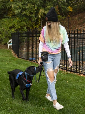 NEADS World Class Service Dogs is actively recruiting volunteer full-time puppy raisers in Massachusetts, southern New Hampshire and Rhode Island, to help train future service dogs. Shrewsbury resident Leah Bell is currently helping to raise and train Jettie, seen Friday.