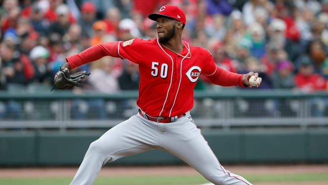 Cincinnati Reds starting pitcher Amir Garrett (50) delivers a pitch in the top of the second inning of the MLB exhibition game between the Reds Futures Team and the Cincinnati Reds at Fifth Third Field in downtown Dayton, Ohio, on Saturday, April 1, 2017. The Reds beat a team of its top prospects 5-1 in the second-ever Futures Game hosted by Single-A affiliate Dayton Dragons,