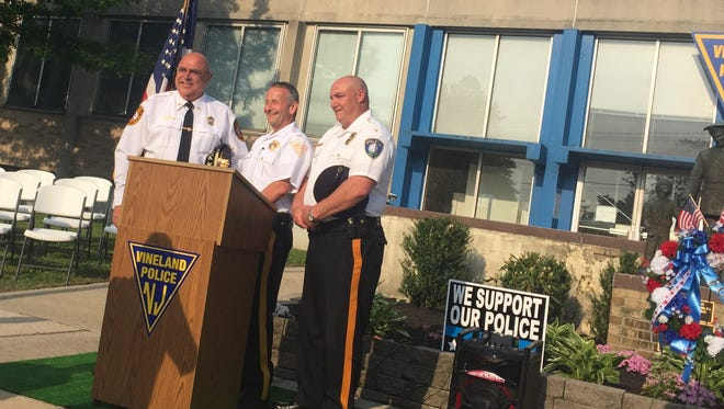 Police Chiefs (left to right) Michael Gaimari of Bridgeton, Rudy Beu of Vineland, and Jody Farabella of Millville, joined forces on Monday to observe a police memorial to coincide with National Police Week at the Vineland Police station.