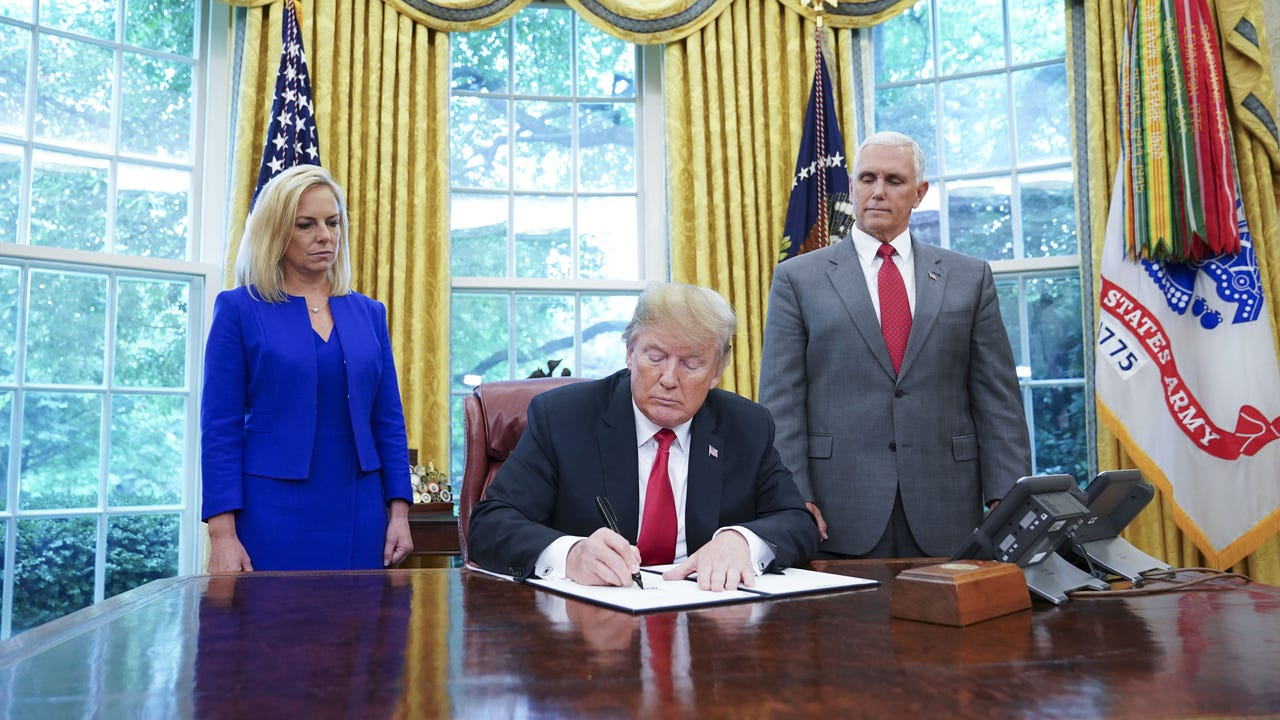 The Homeland Security Secretary briefed House Republicans on President Donald Trump's executive order ending the process of separating families. She also pushed for passage of GOP immigration bills, but neither appears to have enough support. (June 20)