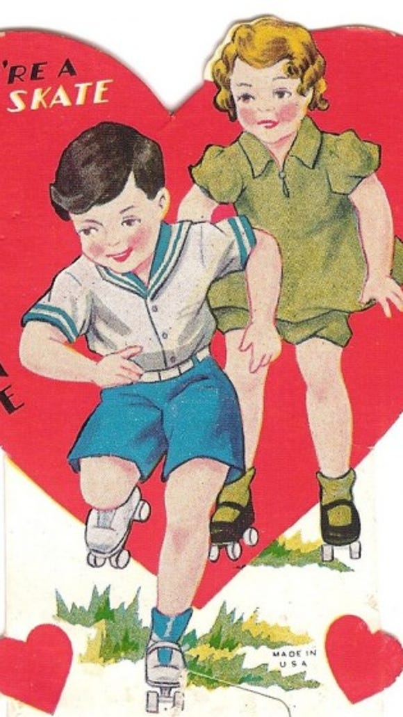 """An old Valentine's Day card: """"You're a good skate, Valentine."""""""