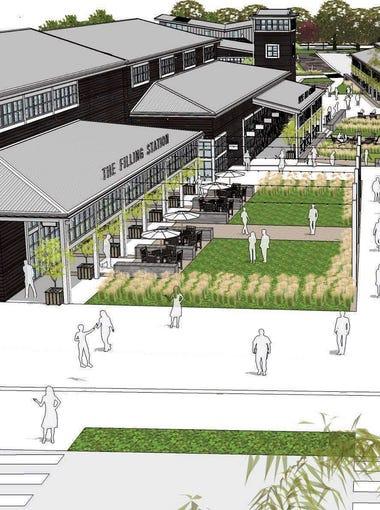 Artist renderings of The Village center at Rancharrah in Reno.