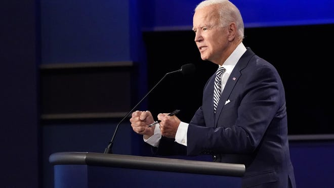 Democratic presidential candidate former Vice President Joe Biden speaks during the first presidential debate with President Donald Trump on Tuesday.