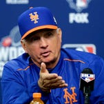 New York Mets manager Terry Collins talks during a news conference before Game 5 of the Major League Baseball World Series bagainst the Kansas City Royals Sunday, Nov. 1, 2015, in New York.