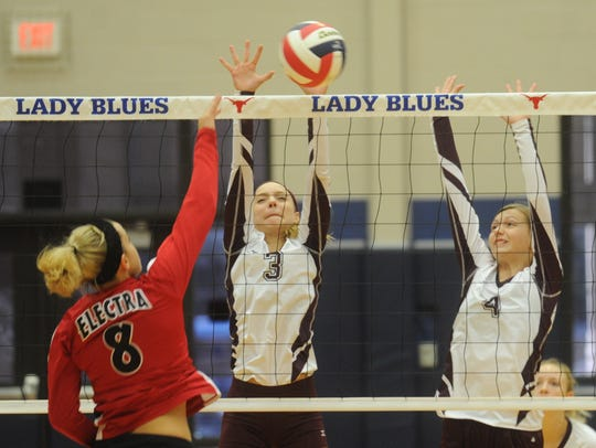 Hannah Rule (3) and Lainey Taylor (4) will be key players on this year's Hawley team.
