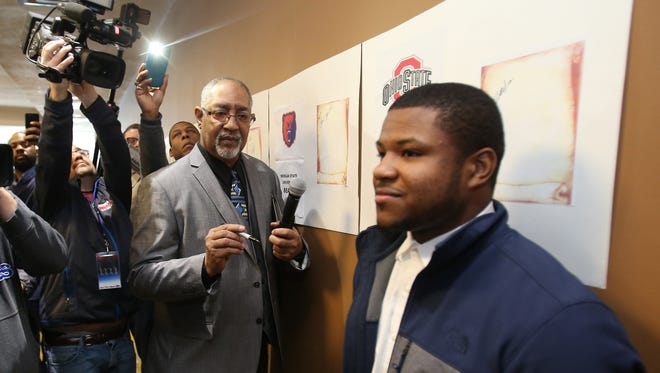 Cass Tech running back Mike Weber before he signed to Ohio State University on  February 4, 2015 at The Horatio Williams Foundation Headquarters in Detroit.