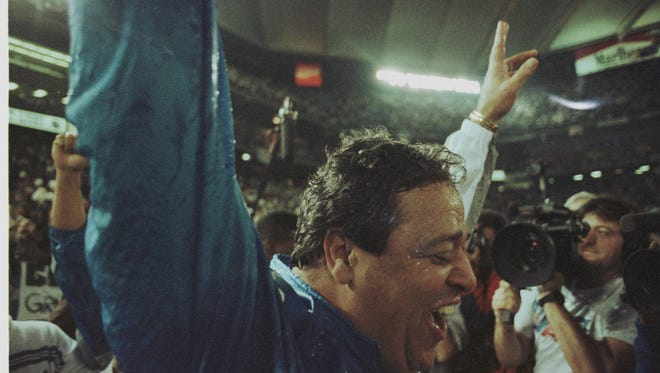 1/5/95--LIONS HEAD COACH WAYNE FONTES-- Lions head coach WAYNE FONTES was drenched in Gatoraide after the Lions' only playoff win which was over Dallas during the 1991 season. (PHOTO BY JULIAN H. GONZALEZ/DETROIT FREE PRESS)