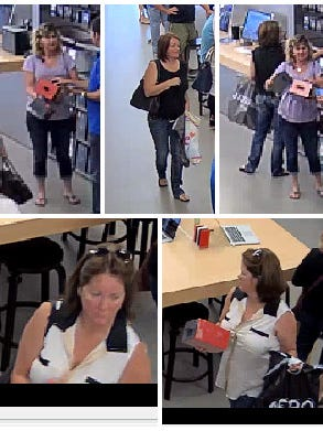 Surveillance images of two women accused of stealing more than $6,000 from an Apple Store in Estero