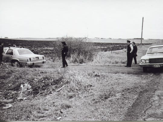 A photo from a 1981 crime scene where an infant was